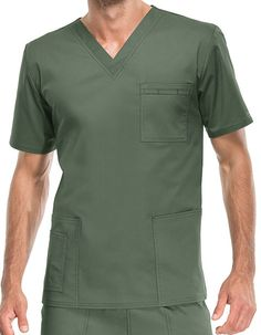 Timeless style and joyful performance! The Core Stretch by Cherokee Workwear brings you Unisex V-Neck Solid Scrub Top that is skillfully tailored with double needle stitching for its enhanced durability and your long-lasting wear. Along with one chest pocket with an outer instrument loop, the garment also features two patch pockets with a bonus instrument/cell phone pocket. Featuring short sleeves and vented sides, the apparel ensures natural movement and comfortable performance.