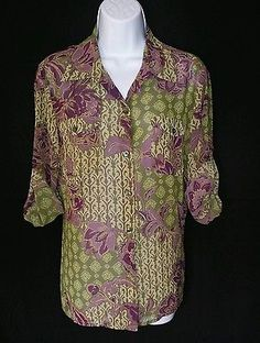 Evan Picone NEW Multi-Color 3/4 Sleeves Button Down Blouse Ladies M