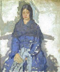 Artist: Gwen John Title: Seated Girl holding some Sewing Medium: oil on canvas Created: circa 1920