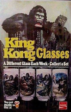 When I see things like this King Kong Glasses Ad from Burger Chef, it makes me sad. Sad that I did not have the foresight to beg for these things when they were throwing them out back in the King Kong, Superman Wonder Woman, Batman And Superman, Vintage Advertisements, Vintage Ads, Retro Advertising, Vintage Food, Vintage Stuff, Vintage Posters