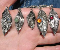 """The leaves are falling! Here are some from my yard that were """"immortalized"""" in silver. All of them have sold already, they were last of my items to sell on my old Etsy store that I'm going to close next..."""