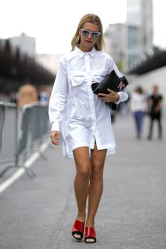 Très Chic! The Best Street Snaps at Paris Fashion Week: A little Risky Business-themed fashion from Natalie Joos.
