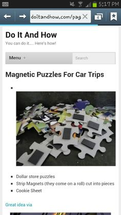Dollar Store puzzle + magnetic strip + cookie sheet = car trip fun