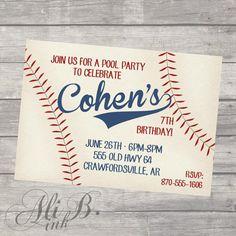 Baseball Party Birthday Printable Invitation by ALiBink on Etsy, $15.00