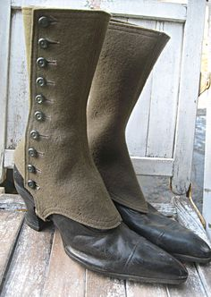 Antique boots, black leather with spats,