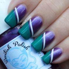 Wimbledon nail art tape manicure featuring KIKO and OPI
