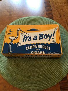 Vintage 1980'S It's A Boy Tampa Nugget Cigar Box