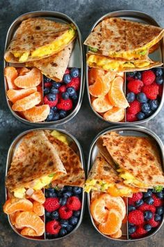 Ham, Egg and Cheese Breakfast Quesadillas - Meal prep ahead of time so you can have breakfast done right every morning! Less than 300 calories per serving! recipe meal prep Ham, Egg and Cheese Breakfast Quesadillas Easy Healthy Meal Prep, Healthy Breakfast Recipes, Easy Healthy Recipes, Healthy Drinks, Healthy Snacks, Breakfast Ham, Breakfast Ideas, Eating Healthy, Snacks Recipes