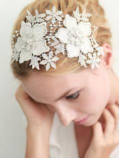 Lace headband bridal headband wedding headpiece by woomeepyo