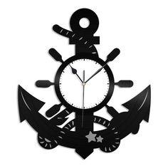 Anchor Beach Vinyl Wall Clock - VinylShop.US Шаблоны Для Выпиливания, Настенные Часы, Cnc, Вязание Крючком, Деревянные Часы, Виниловые Пластинки, Бриколаж, Watches