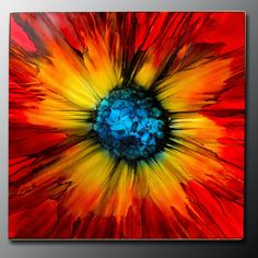 """Modern Art Paintings for Sale """"Abstract Red Sun Burst"""" - Herbst Metal Wall Art - Art Paintings For Sale, Modern Art Paintings, Abstract Paintings, Oil Paintings, Colorful Paintings, Indian Paintings, Landscape Paintings, Contemporary Abstract Art, Contemporary Decor"""