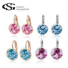 GS Brand Hot Sales AAA Zircon Earrings for Women brincos Pink Crystal Earrings Accessorie Wedding Fashion Jewelry www.peoplebazar.net    #peoplebazar