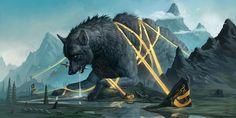 Fantasy Kunst, Dark Fantasy Art, Fantasy Creatures, Mythical Creatures, Magnificent Beasts, Fantasy Monster, Creature Concept, Norse Mythology, Art Base