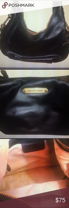 """Michael Kors Hobo/Shoulder Bag Michael Kors black hobo/shoulder bag; this bag has been used & does show signs of wear (exterior scuffing, interior stains/worn, brass hardware """"greening""""/showing west, shoulder strap is coming apart; I have tried to be as ho eat as possible with the condition and reflect in pictures); even though this bag is used & shows wear it is a great functional bag; the zippers are fully functional; measurements are an estimation only Michael Kors Bags Shoulder Bags"""