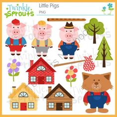 Three little pigs clipart collection.  A classic theme that never goes out of style.  Great for classroom use for Pre K or Kindergarten