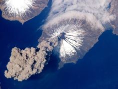 Volcanic Eruption in. Photo made by an astronaut.