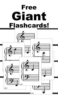 Free giant music flashcards! Get the full size page cards so everyone in the classroom can see! #music #education #flashcards #staff #notes #names #note #piano #teaching #theory