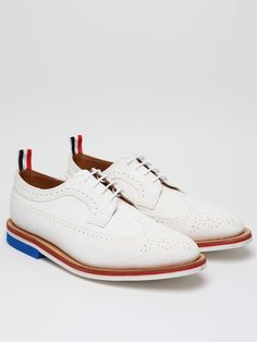 THOM BROWNE MEN'S WHITE WINGTIP BROGUE WITH MICRO SOLE