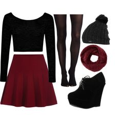 maroon skater skirt by kyrstenann17 on Polyvore featuring Boohoo, SPANX, Forever Link, Burton and TOMS
