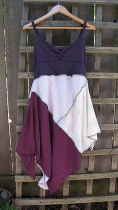 Purple Pixie Tank Dress Lagenlook Upcycled/ Funky Asymmetrical