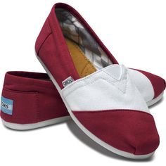 TOMS Shoes Campus Classic Barn Red and White Women 8.5 ($48) ❤ liked on Polyvore