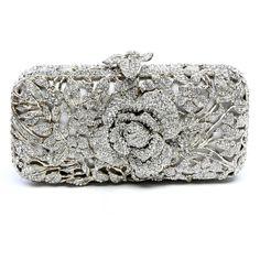 #Rosalie by #ClaraKasavina -  #HandSculpted #Metal #Floral #Swarovski® #Crystal #Rose #Minaudiere in #Shiny #Metallic #Silver $1,825 - #Luxury #SwarovskiElements®  #Clutch #EveningBags
