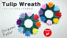 Paper Origami Flowers, Origami Wreath, Origami Flowers Tutorial, Origami Paper, Flower Tutorial, Tulip Wreath, Tulips, Mandala, The Creator