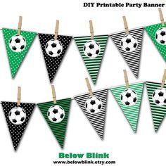 Soccer Ball Banner, Soccer Birthday Printable Party Banner, Pennant Banner, Soccer Party Photo Prop - Instant Download - DP375 by BelowBlink on Etsy https://www.etsy.com/listing/273123322/soccer-ball-banner-soccer-birthday