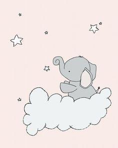 Elephant Nursery Art Print -- Elephant Star Cloud -- Pink and Gray -- Nursery Decor -- Children Art -- Kids Wall Art