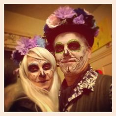 Oh I love the annual Halloween dress up. Time to put on the best rags and slap. #dressingupisfun #stovelldesign #dayofthedeadmakeup #livingthegoodlife