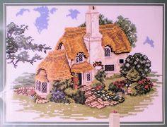 Cross Stitch Kit Lilliput Lane Porlock Down LL03, Thatched Cottage by SewingMakesMyDay on Etsy