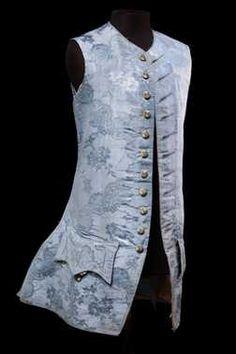 Sleeveless Waistcoat, ca. 1760, Netherlands, Blue damascene grosgrain silk, strengthened with horsehair.
