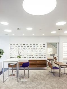 "Hamburg based architecture office STLH Architekten were commissioned to redesign comprehensively the optician store ""Klinke Optik"" in Oberursel, nearby Frankfurt. Shop Interior Design, Retail Design, Store Design, Optic Shop, Glass Store, Lighting Concepts, Layout, Retail Shop, Design Furniture"