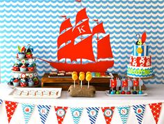 Ideas de decoración infantil para una fiesta temática de Jake y los Piratas de Nunca Jamás. Cómo decorar una fiesta de cumpleaños de Jake y los Piratas de Nunca Jamás.