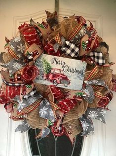 Red Truck Christmas Wreath, Red Truck Decor, Christmas Wreath, Rustic Christmas wreaths, Buffalo pla – The Best DIY Outdoor Christmas Decor Christmas Wreaths To Make, Diy Christmas Ornaments, Holiday Wreaths, Rustic Christmas, Christmas Decorations, Plaid Christmas, Christmas Time, Christmas Ideas, Merry Christmas