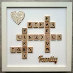 (b) Scrabble Art Picture Frame Personalised Family & Heart - 24 Colours/Glitter Scrabble Family Names, Scrabble Letter Crafts, Scrabble Tile Crafts, Scrabble Board, Scrabble Frame, Wooden Letters, Scrabble Wedding, Box Frame Art, Diy Frame