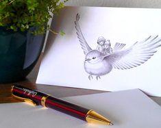 Postal de felicitación - Ilustración fantasía - Pájaro