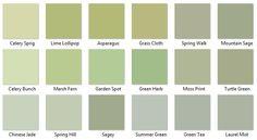 Behr Greens 3 - I like Chinese Jade, Summer Green, and Green Tea