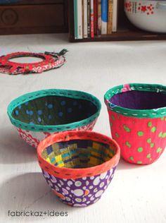 handmade*zakka | fabrickaz+idees bowl made with fabric with glue, like a paper mache.