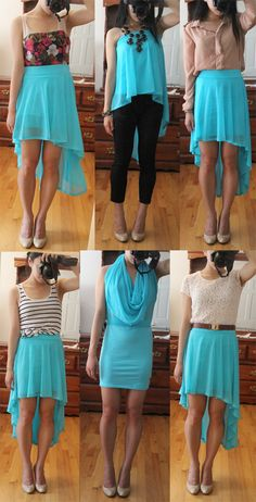 What?!?!?! How to wear a high low skirt. I love the bottom middle one, never would've thought of that.