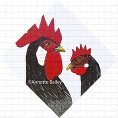 Andalusian Chicken Acrylic Art Mosaic Print 6x6 by AnnetteBailey
