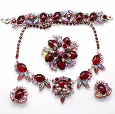 Juliana+Red+Cabochon+Leaves+Rhinestone+Parure+Necklace+Bracelet+Brooch+Earrings+#Juliana