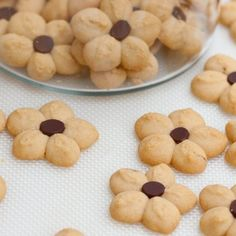Peanut Butter Petal Cookies--Cookie Press Cookies I could dig out Mum's old Sawa 71 for this! Spritz Cookies, Xmas Cookies, Shortbread Cookies, Biscuits, Holiday Baking, Christmas Baking, Just Desserts, Delicious Desserts, Yummy Treats