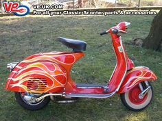 I found you one with flames 🔥😬 Vespa Vbb, Piaggio Vespa, Lambretta Scooter, Scooter Motorcycle, Vespa Scooters, Hippie Camper, Italian Scooter, Retro Scooter, Scooter Parts