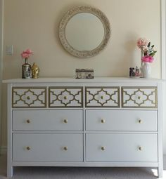 O'verlays Jasmine Kit for Ikea Hemnes 8 drawer dresser. A classic in home decor that works with any style decorating. An easy diy furniture makeover. Ikea Furniture Makeover, Diy Furniture, Furniture Stores, Ikea Makeover, Furniture Repair, Furniture Removal, Furniture Outlet, Furniture Projects, Modern Furniture