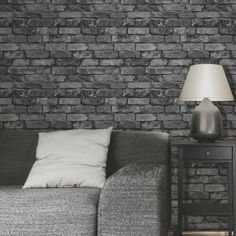 This fantastically realistic Fine Decor Silver Grey Brick Effect Wallpaper will make a great feature in any room! The design is based on a rustic silver grey brick and is printed on to luxury heavyweight paper to ensure durability and a quality finish. Brick Wallpaper Cream, Brick Wallpaper Silver, Grey Brick Effect Wallpaper, Brick Design Wallpaper, Brick Wallpaper Living Room, Look Wallpaper, Stone Wallpaper, Wall Wallpaper, Designer Wallpaper