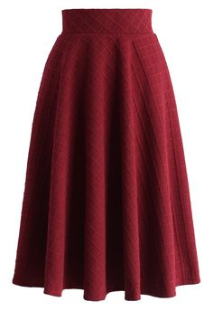 Embossed Gingham A-line Skirt in Wine - New Arrivals - Retro, Indie and Unique Fashion