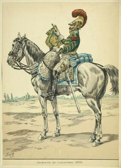 Carabinier trumpeter with 1812 regulation jacket for muscians (I might add, an ill-conceived idea, and some units never fully implemented it;  some regiments at Napoleon's last battle, Waterloo, were still wearing pre-1812 styles).