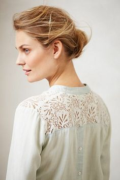 Laced Chambray Popover- Anthropologie