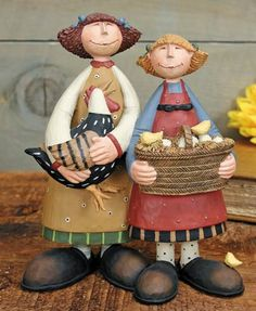 Girl With Chickens Figurine – Everyday Folk Art Figurines & Collectibles – Williraye Studio $35.00